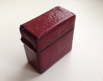 Antique Travelling inkwell red leather