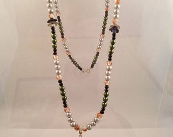 Olive Green and Silver Glass Pearl Necklace with Pendant and Dangle Flower Earrings