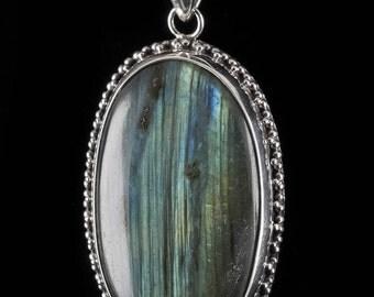 5cm LABRADORITE & Sterling Silver Pendant - Blue Labradorite Stone, Labradorite Jewelry, Labradorite Necklace, Labradorite Pendant J604