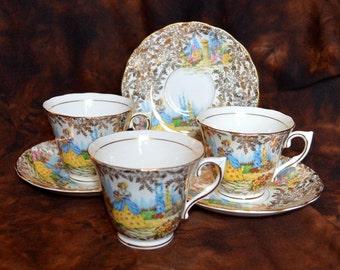 555 Colclough Crinoline Lady Tea Cups and Saucers