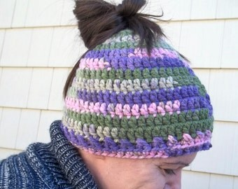 Hand Crocheted Ponytail Hats