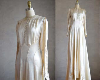 vintage 1930s wedding dress | vintage 30s silk charmeuse gown | long sleeve silk satin vintage wedding dress | art deco gown