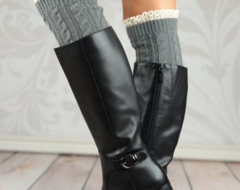 Gray Wheat Boot Cuffs