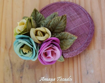 Played flowers of multi-coloured linen, wedding, snap, guest / Headpiece, Fascinator