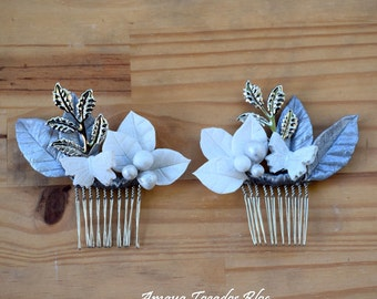 comb hair silver - touched porcelain and filigree /plated headpiece
