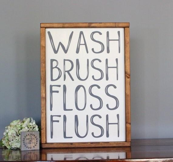 Farmhouse Bathroom Wall Decor : Bathroom wall decor farmhouse wash brush floss