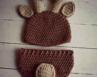 Crocheted Baby Deer Outfit, Deer Photo Prop Set, Newborn Photo Prop, Deer Hat, Woodland Animals, Animal Hat, Deer Baby Hat