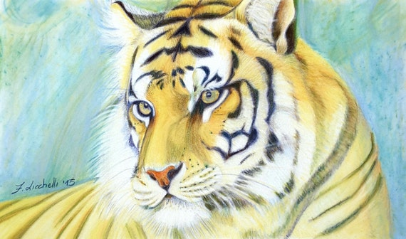 Tiger portrait, original drawing by Francesca Licchelli, gift idea for First Communion, boys bedroom office decoration, wild animal lovers.