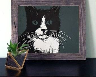 Rosie Cat Reductive Linocut Print