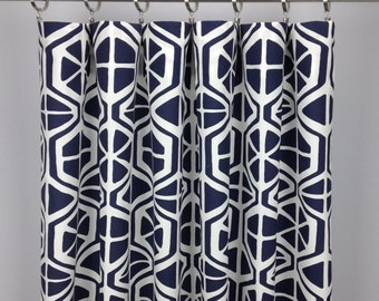 Geometric Curtains - FREE SHIPPING - Drapery Panels - Rod Pocket Drapes - Grommets - Lined/Unlined - Valance - Multiple Colors - Aiden Print