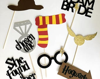8 piece Glitter Harry Potter Themed Party Photo Booth Props // Bachelorette, Bridal Shower, Muggle Team Bride Chosen One She Found a Keeper
