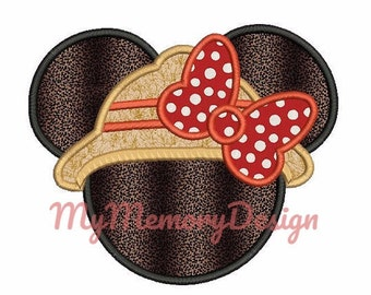 Ms mouse embroidery - Miss mouse applique - Safari embroidery - Girl embroidery design -  Machine embroidery pattern - INSTANT DOWNLOAD