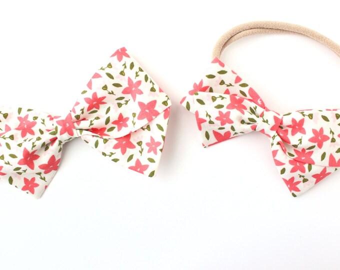 Hair Bows Flower - Coral Flowers - Nylon Baby Headband and Alligator Hair Clip