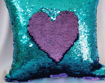 Light Blue and Purple Mermaid Pillows, Sequin Pillows Cover, Pillow, Throw Pillow, Luxury Sequin Pillows