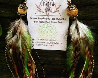 Feather Earrings #32 forest green white beige jasper full long grizzly feather earrings