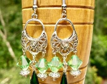 Green Chandelier Earrings - Crystal Chandelier Earrings - Antique Dangle Earrings - Teardrop Chandelier Earrings - Silver Chandelier Earring