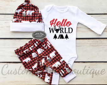 Baby Boy Coming Home Outfit,Hello World, Red,Black & White Buffalo Plaid Woodland Cabin Print Pants And Hat, Baby Boy Outfit Set, Lumberjack