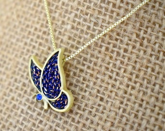 Butterfly Necklace - Purple - Gold - Butterflies - Nature - Happiness - Transformation - Rebirth - Joy
