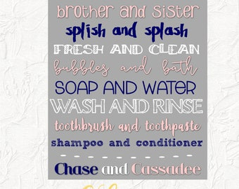 We Go Together Like Brother and Sister Bathroom Sign, Jack and Jill Bathroom, Brother and Sister Shared Bathroom, Home Decor, Typography