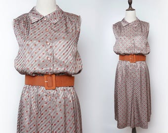 Grey Slanted Strip Women Vintage Red Polka Dot Dress Pleated 1960s Sleeveless Size M