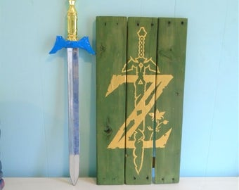 Zelda Master Sword Rustic Wood Pallet Sign//Triforce//Link//Ocarina//Breath of the Wild//Nintendo//Gift//Nerd//Video Game//Twilight//Epona