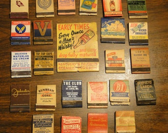 25 1940's Matchbook Cover Collection  1940's Match Book Covers Collection WWII WW2 Advertising Match Book Cover Collection - Great Find!
