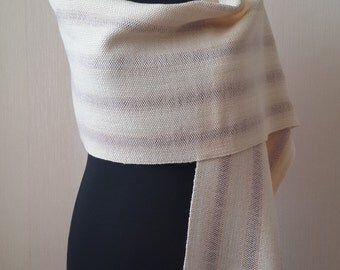 Hand woven wool scarf Womens accessory Handwoven wool scarf Womens scarf Gift for her Striped scarf Spring scarf Winter scarf Woolen wraps
