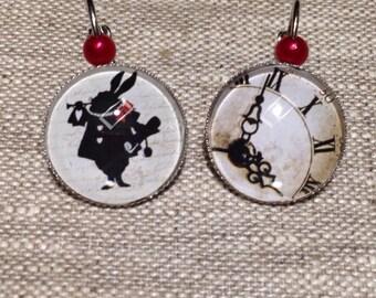 Cabochon earrings - Alice in Wonderland - rabbit - clock