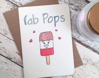 Funny Fathers Day Card, punny card for Dad,  Fab Pops Card, Greetings Card for Dad Daddy and Grandfathers, Gift for Him, Great Dad