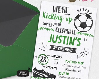 Soccer Birthday Party invitations All Star Sports Birthday Party printable invitations  Watercolors birthday invitations