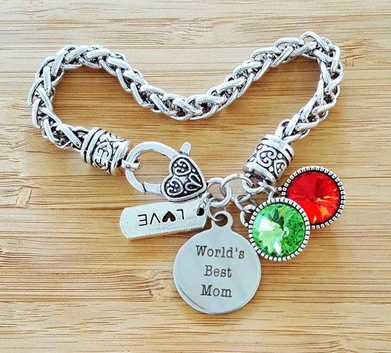Mom Bracelet with Birthstones Birthstone Bracelet Mom Gift Bracelet for Mom Gift for Mom Gifts for Mom Worlds Best Mom
