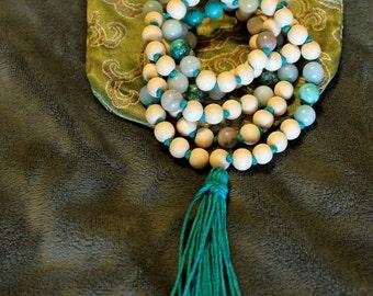 White Wood, Amazonite, & Turquoise Knotted Handmade Meditation Mala
