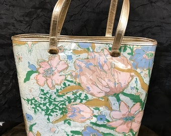 Vintage Delill Creation Pastel Summer Flowers Purse / Delill Tote