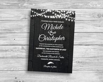 Rustic Wedding Invitation, Vintage Wedding Invite, Outdoor Wedding, Country Wedding, String Light Wedding, DIY, Printable