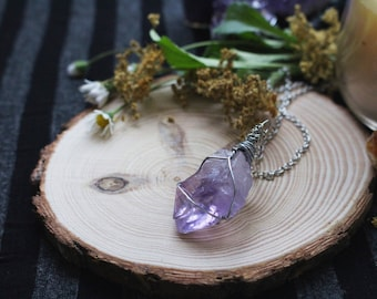 Amethyst Necklace - Amethyst Point Necklace - Silver Tone Amethyst Necklace - Raw Amethyst Necklace - Amethyst Crystal Necklace