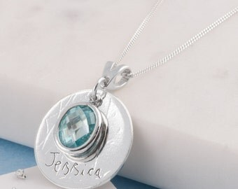 Sterling Silver birthstone hand writing necklace