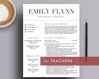 Teacher resume template for Word and Pages (1, 2 and 3 page resume, cover letter & icon set) Academics, Researchers   Instant Download