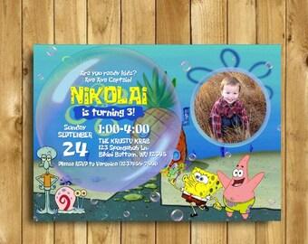 Spongebob Invitation, Spongebob Birthday, Spongebob Birthday Invitations, Spongebob Squarepants, Spongebob Invite, Spongebob Card, 5x7