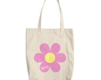 Spring Bag - Canvas tote bag - Flower tote - Flower lover - Gift for girlfriend - Beach bag - Colorful - Shopping Bag - Spring tote - Flower