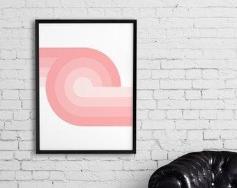Geometric print, Abstract poster, Geometric wall art, Pink, Modern art, Home wall print, Office decor