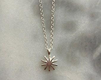 Mini Dainty SUNBURST Silver Pendant Necklace