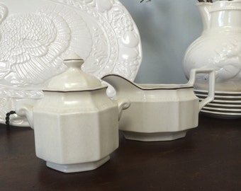 Kensington Staffordshire Ironstone Made in England includes Gravy Boat and Sugar Bowl with Lid