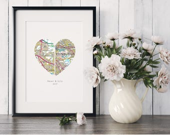 Heart Map Art, Map Heart, Heart Map Print, New Home, Personalised Map Gift, First Anniversary, Wedding Gift
