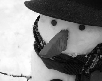 Instant Digital Download: Snowman Photograph (Black & White) 8x6