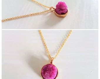 Druzy Pendant Necklace in 16k Silver/Gold