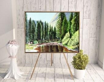 Yosemite Painting, Original Painting, Landscape Painting, Nature Painting, Landscape Art, wall painting, Wall Decor, canvas painting