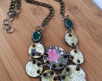 Chartreuse and Pink Floral Woodburned Necklace