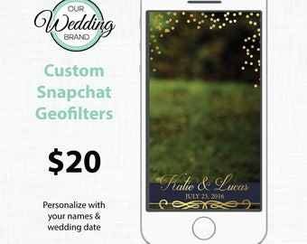 Customized Wedding Snapchat Geofilter - Gold & Navy