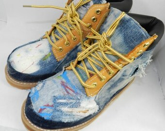 custom white timberlands with gold chains
