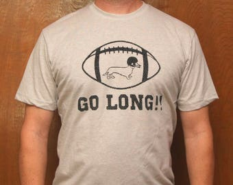 GO LONG!! Light Grey Unisex T Shirt, Dachshund, Doxie, Doxies, Dachshund Shirt, Wiener Dog, Sausage Dog, Football, Weiner Dog, College